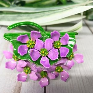 Vintage Enamel Purple Flower Lapel Pin Brooch Boho